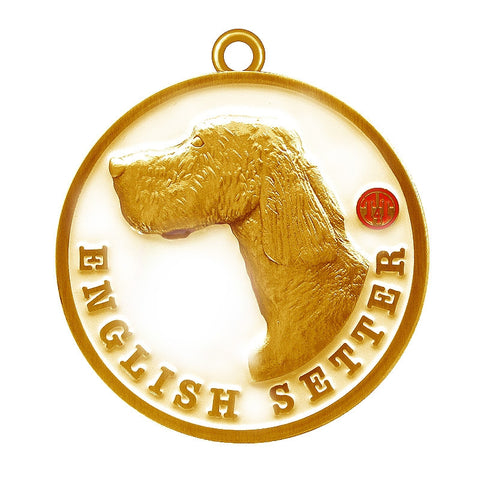 English Setter Dog Id Tag Antique Gold Finish - Tags4Tails