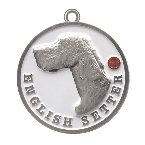 English Setter Dog Id Tag Antique Silver Finish - Tags4Tails