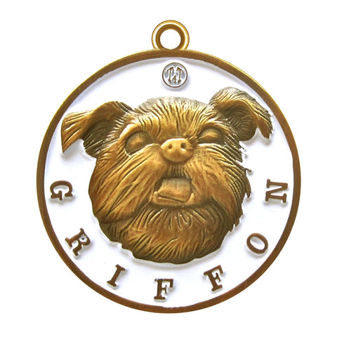 Griffon iId Tag Antique Gold Finish - Tags4Tails