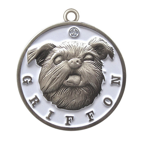 Griffon Dog Id Tag Antique Silver Finish - Tags4Tails