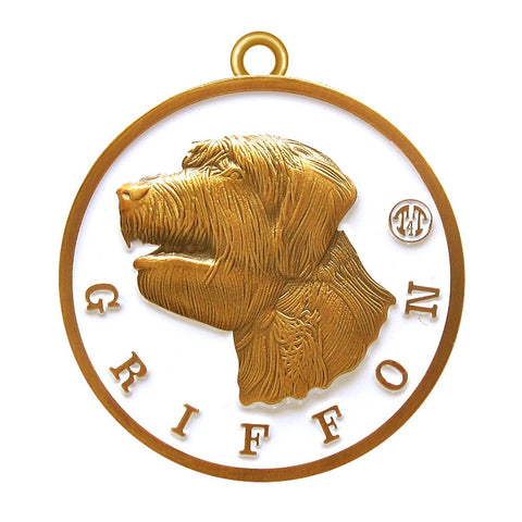Griffon Dog Id Tag Antique Gold Finish - Tags4Tails
