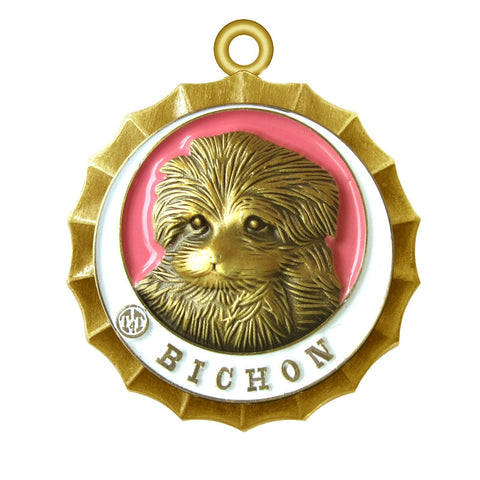 Bichon Dog Id Tag Antique Gold Finish - Tags4Tails