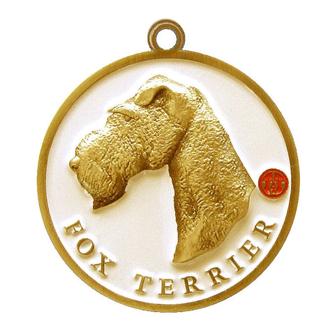 Fox Terrier Dog Id Tag Antique Gold Finish - Tags4Tails