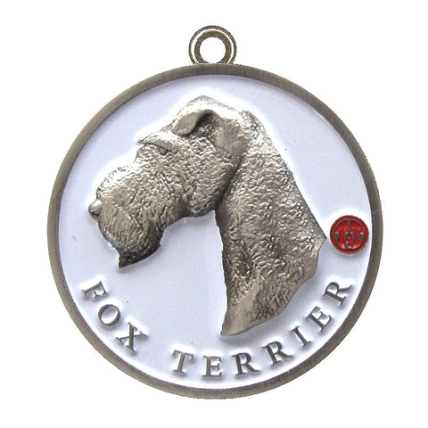 Fox Terrier Dog Id Tag Antique Silver Finish - Tags4Tails