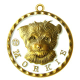 Morkie Dog Id Tag Antique Gold Finish - Tags4Tails