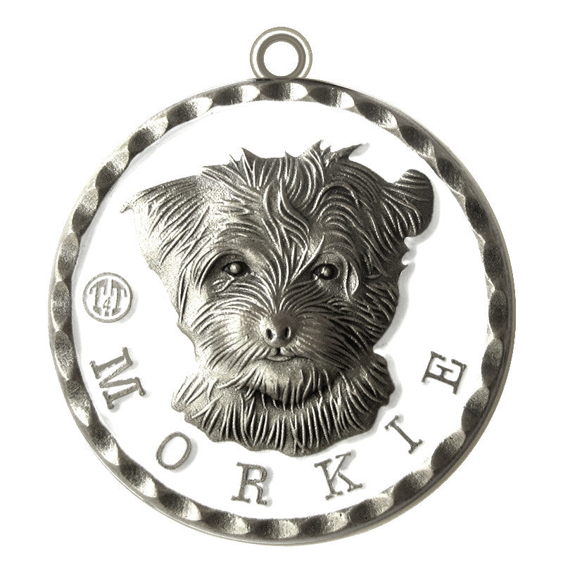 Morkie Dog Id Tag Antique Silver Finish - Tags4Tails