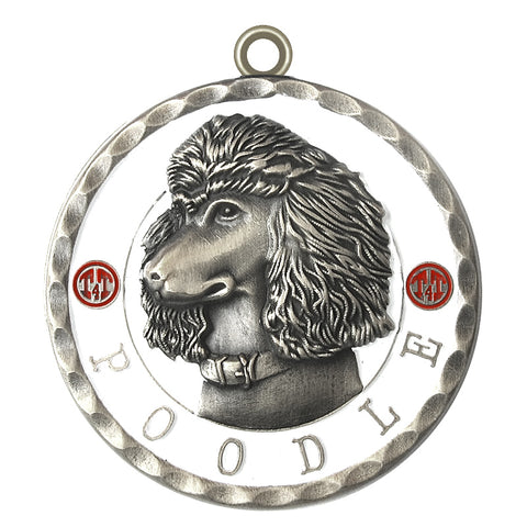 Poodle Dog Id Tag Antique Silver Finish - Tags4Tails
