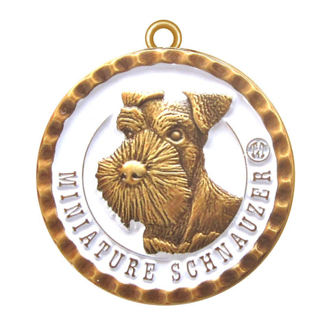 Miniature Schnauzer Dog Id Tag Antique Gold Finish - Tags4Tails