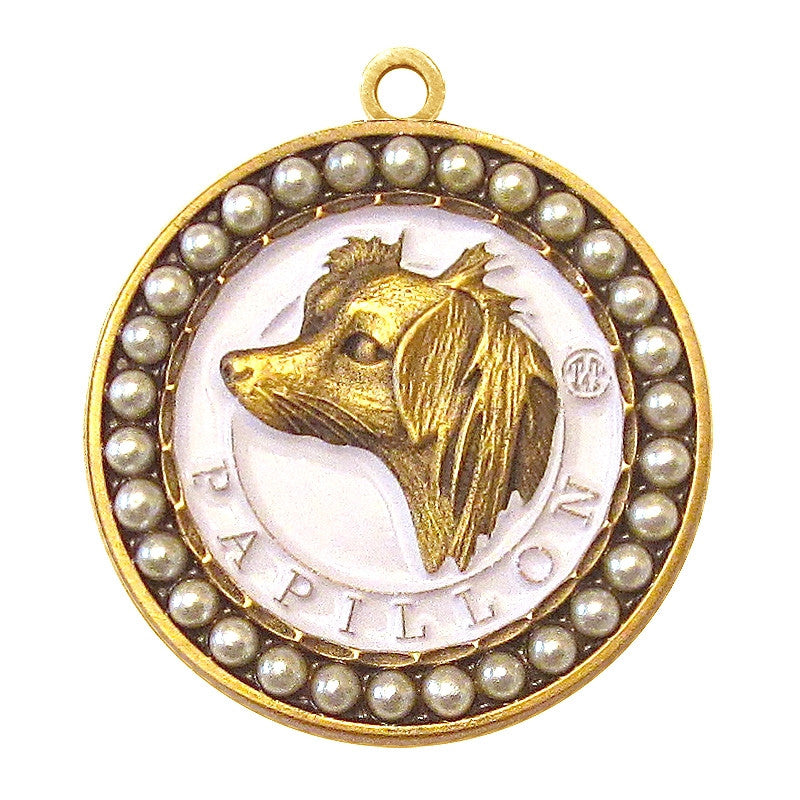 Papillon Dog Id Tag Antique Gold Finish with Pearls - Tags4Tails