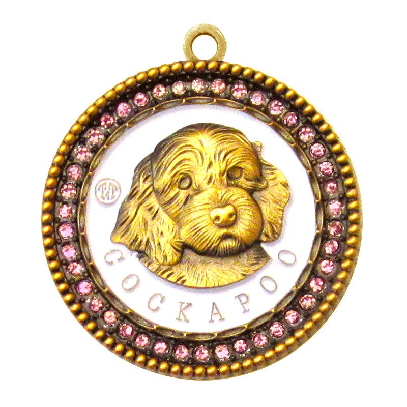 Cockapoo Id Tag Antique Gold Finish with Pink stones - Tags4Tails