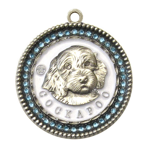 Cockapoo Id Tag Antique Silver Finish with Blue stones - Tags4Tails