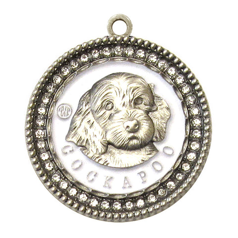 Cockapoo Id Tag Antique Silver Finish with Clear stones - Tags4Tails