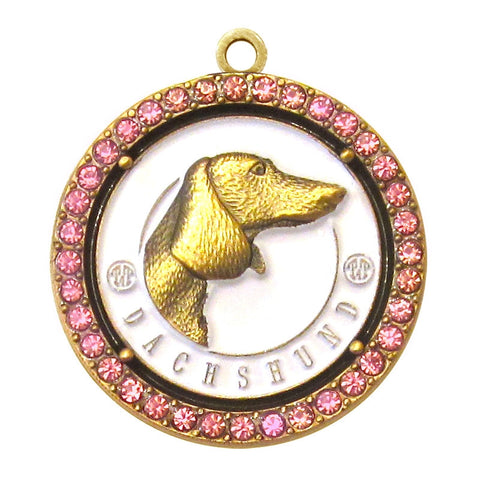 Dachshund Dog Id Tag Antique Gold Finish with Pink Stones - Tags4Tails