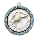 Dachshund Dog Id Tag Antique Silver Finish with Blue Stones - Tags4Tails