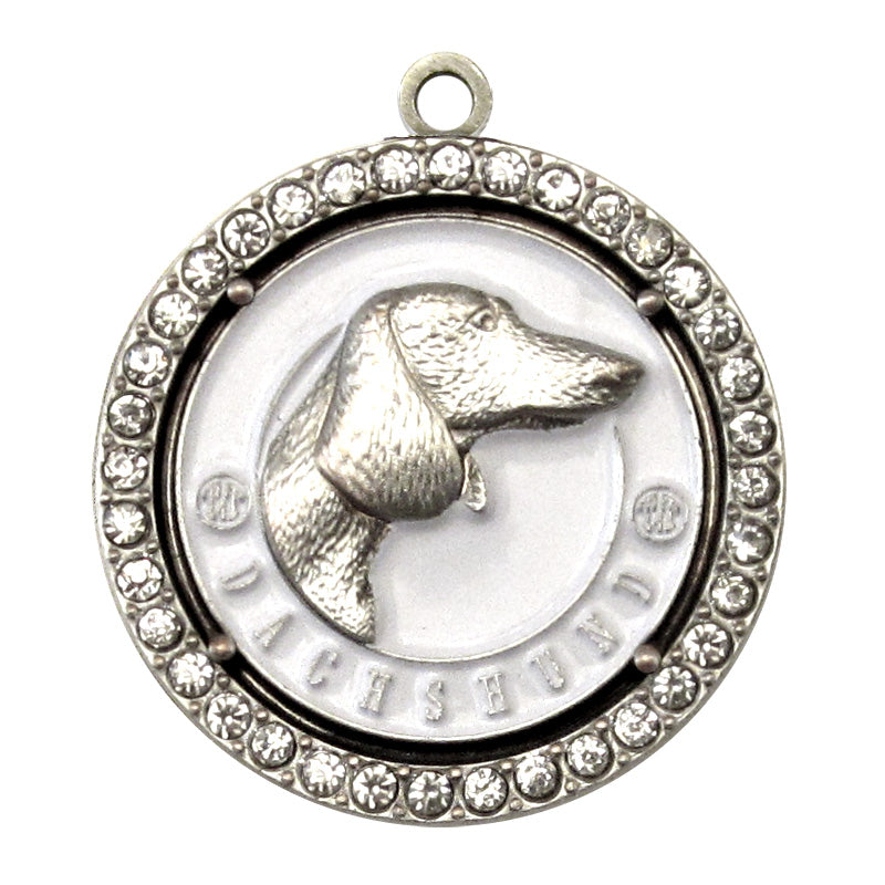 Dachshund Dog Id Tag Antique Silver Finish with Clear Stones - Tags4Tails