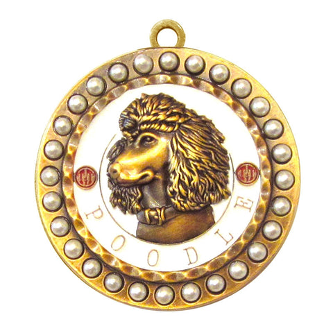 Poodle Dog Id Tag Antique Gold Finish with Pearls - Tags4Tails