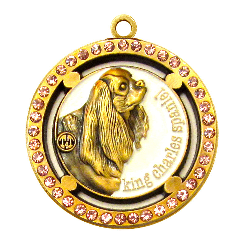 King Charles Spaniel Dog Id Tag Antique Gold Finish Pink Stones - Tags4Tails