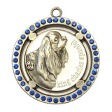 King Charles Spaniel Dog Id Tag Antique Silver Finish Blue Stones - Tags4Tails
