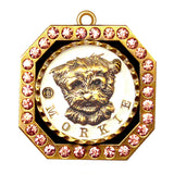 Morkie Dog Id Tag Antique Gold Finish with Pink Stones - Tags4Tails