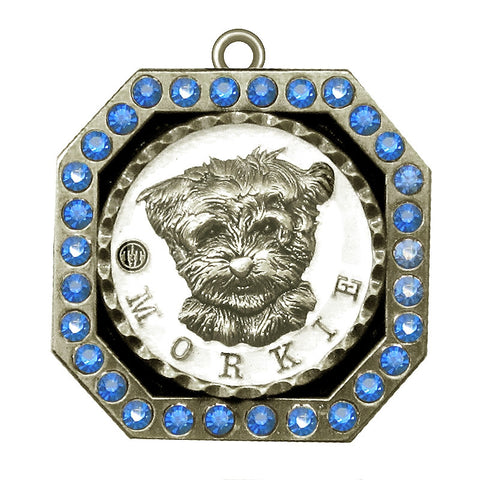 Morkie Dog Id Tag Antique silver Finish with Blue Stones - Tags4Tails