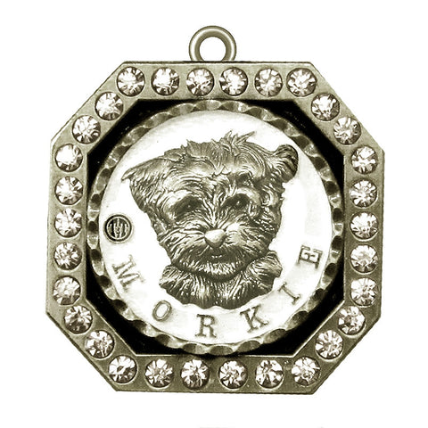 Morkie Dog Id Tag Antique Silver Finish with Clear Stones - Tags4Tails