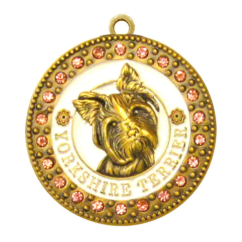 Yorkshire Terrier Dog Id Tag Antique Gold Finish with Pink Stones - Tags4Tails