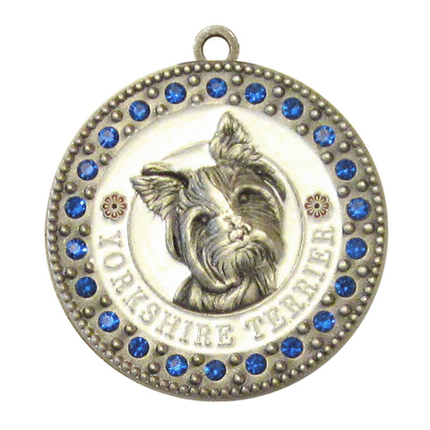 Yorkshire Terrier Dog Id Tag Antique Silver Finish with Blue Stones - Tags4Tails