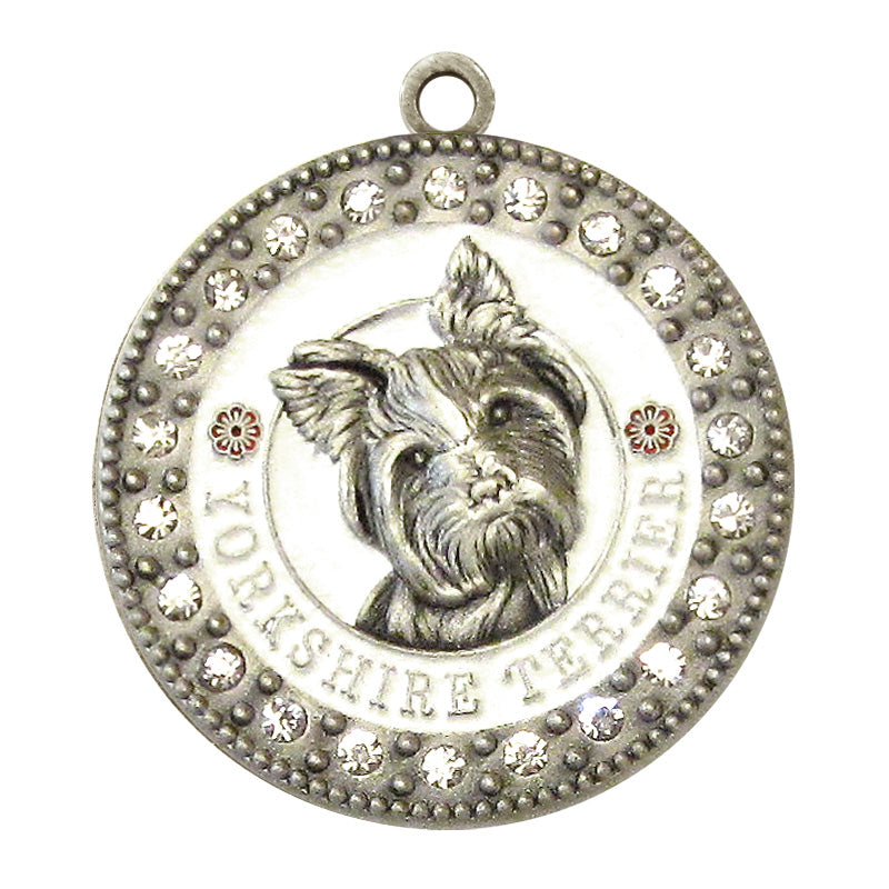 Yorkshire Terrier Dog Id Tag Antique Silver Finish with Clear Stones - Tags4Tails