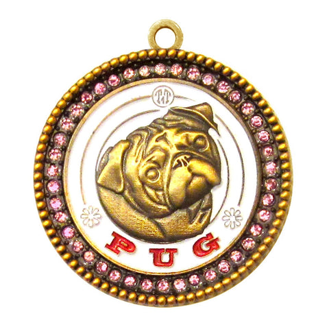 Pug Dog Id Tag Antique Gold Finish with Pink Stones - Tags4Tails