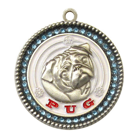 Pug Dog Id Tag Antique Silver Finish with Blue Stones - Tags4Tails