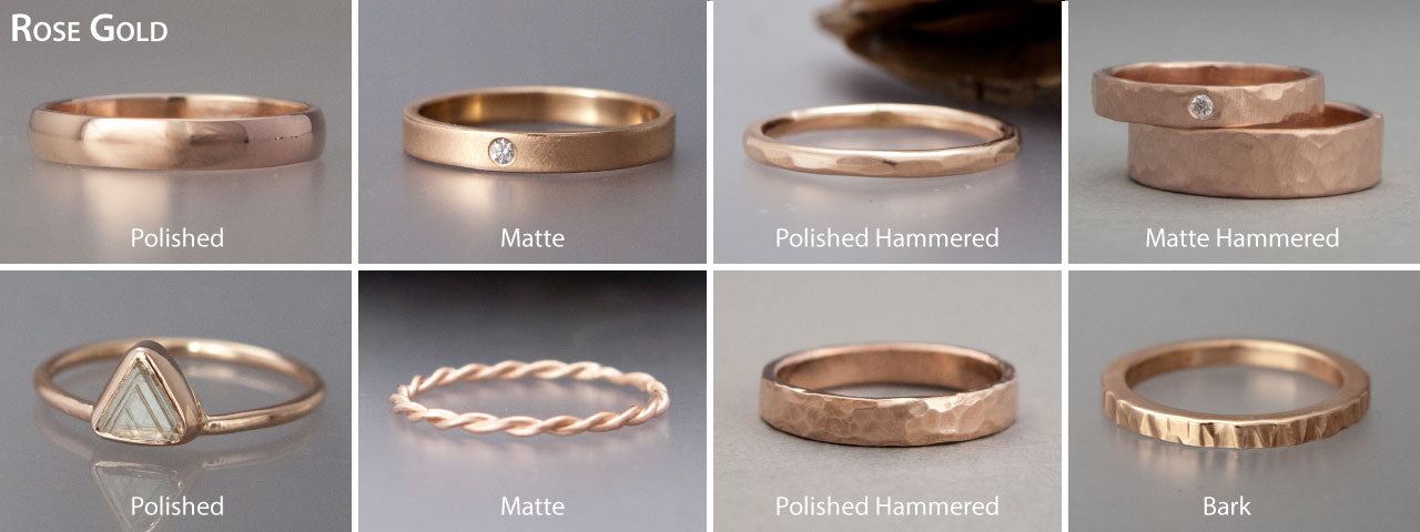 custom made rose gold wedding bands and engagement rings
