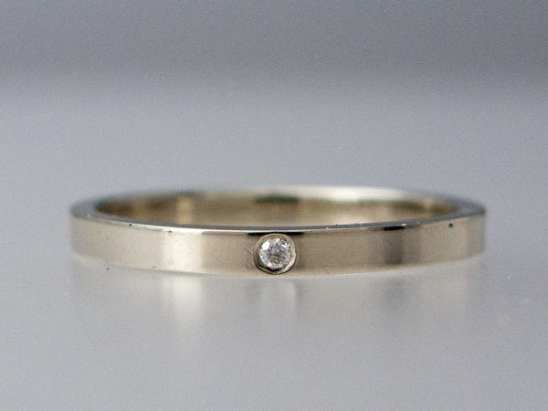Classic Flat Wedding Ring with Flush Set Diamond
