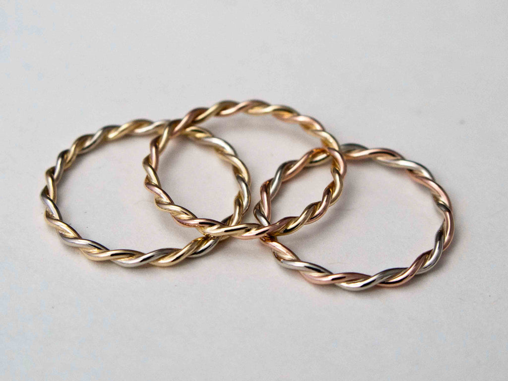 Women's Two Tone Gold Twist Wedding Band