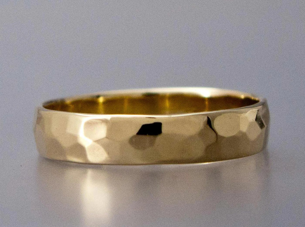Hammered Wide Half Round Wedding Band Custom Made in Gold, Palladium, or Platinum