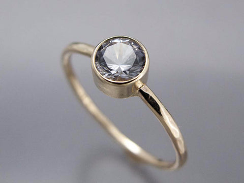 White Sapphire Engagement Ring - 3mm-6.5mm Solitaire Ring with Straight Bezel and a Delicate 1.3mm Round Band in Gold, Palladium or Platinum