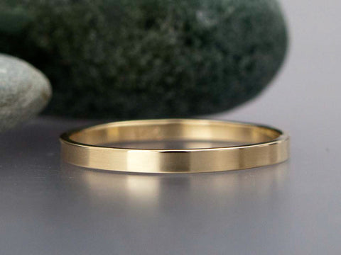 Narrow Flat Wedding Band Custom Made in Gold, Palladium, or Platinum