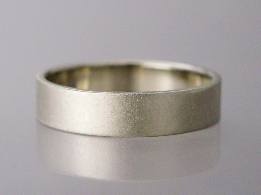 Wide White Gold Flat Wedding Band