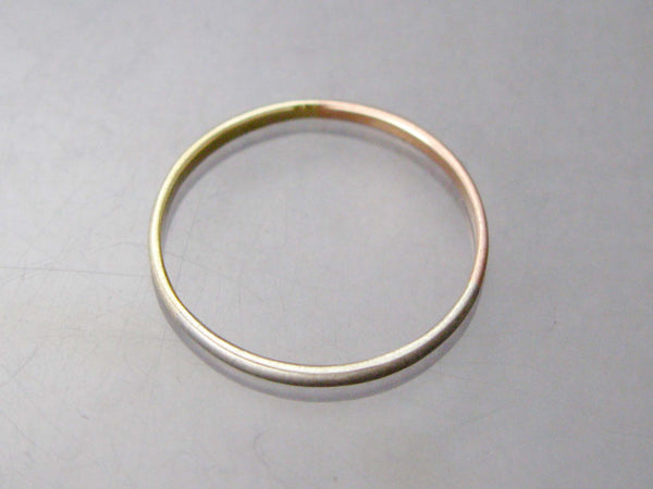 Mixed Gold Narrow Half Round Wedding Band or Anniversary Ring in Yellow, White and Rose Gold