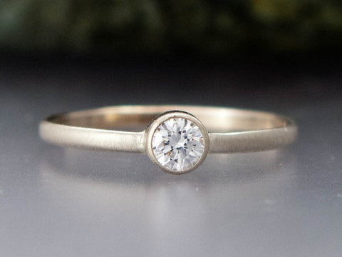 Moissanite Engagement Ring - 3mm-6.5mm Solitaire Ring with Straight Bezel and a Delicate 1.5mm Half Round Band in Gold, Palladium or Platinum