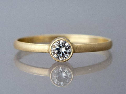 Special Order for Rosario | Delicate 3mm Diamond Engagement Ring with a 1.5mm Half Round Band in Gold