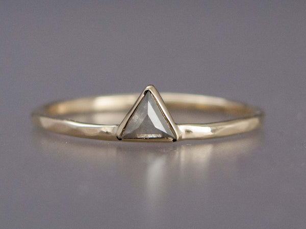 Custom Rose Cut Triangle Diamond Gold Engagement Ring