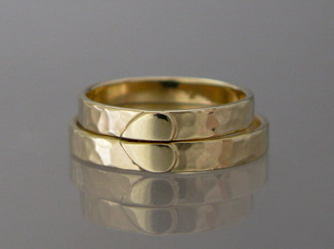 One Love 14k Gold Heart Wedding Ring Set  | 6mm Heart