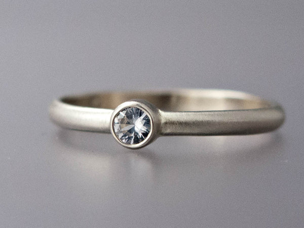 White Sapphire Engagement Ring - 3mm-6.5mm Solitaire Ring with Straight Bezel and a Classic 2mm Half Round Band in Gold, Palladium or Platinum