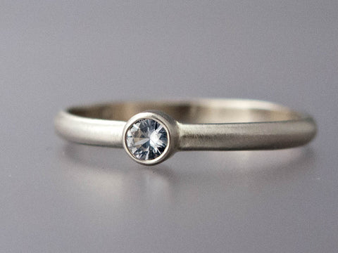 Reclaimed Diamond Engagement Ring with Straight Bezel and a Classic 2mm Half Round Band in Gold or Platinum | Choice of Quarter to Half Carat Diamond