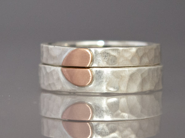 Rose gold heart wedding bands in sterling silver 3mm and 4mm wide flat hammered bands