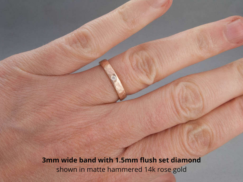 This is a graphic of Wide Diamond Wedding Ring - Flat Band Custom Made in Gold, Palladium, or Platinum