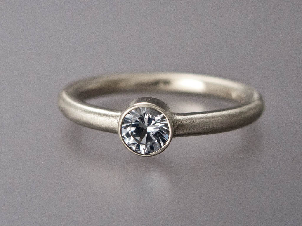 white sapphire engagement ring 3mm 65mm solitaire ring with straight bezel and a - White Sapphire Wedding Rings