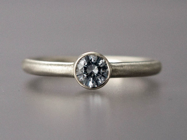 Diamond Engagement Ring - 3mm-5mm Solitaire Ring with Straight Bezel and a 2mm Round Band in Gold, Palladium or Platinum