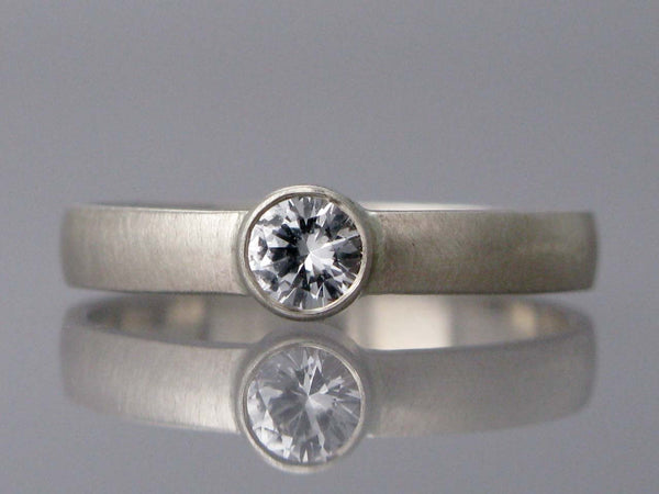 4mm White Sapphire Solitaire Engagement Ring in 14k White Gold
