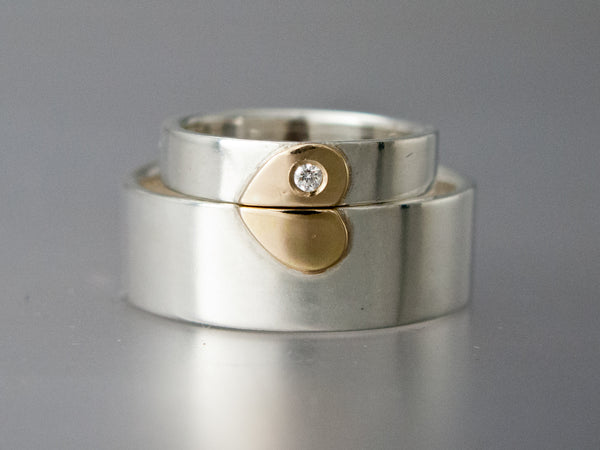 Gold Heart Wedding Ring Set in Sterling Silver and 14k Yellow or Rose Gold | 8mm Heart